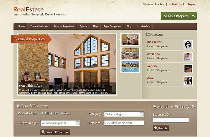 Real Estate WordPress premium theme