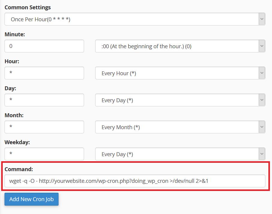 WordPress cron command