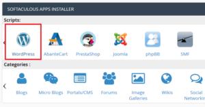 WordPress One-Click installation via Softaculous