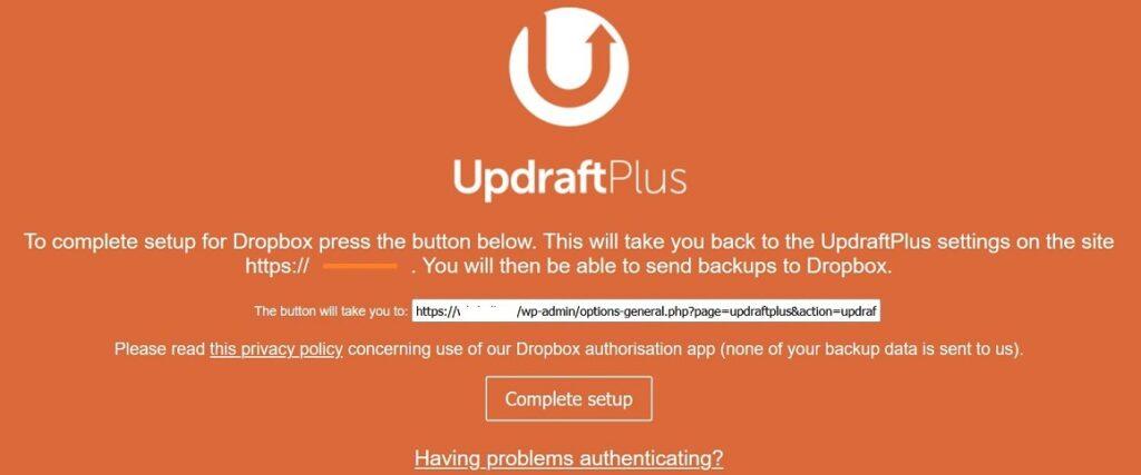 UpdraftPlus Dropbox Setup