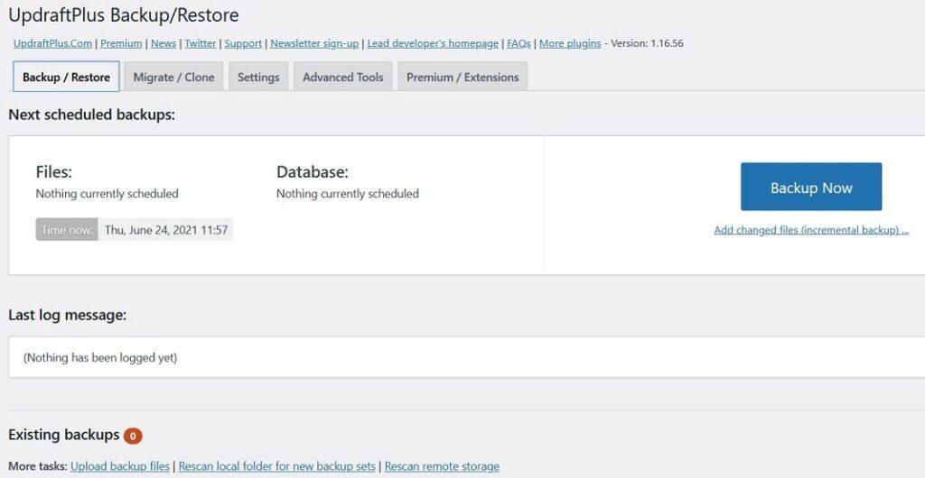 UpdraftPlus Backup Plugin Backup/Restore Option