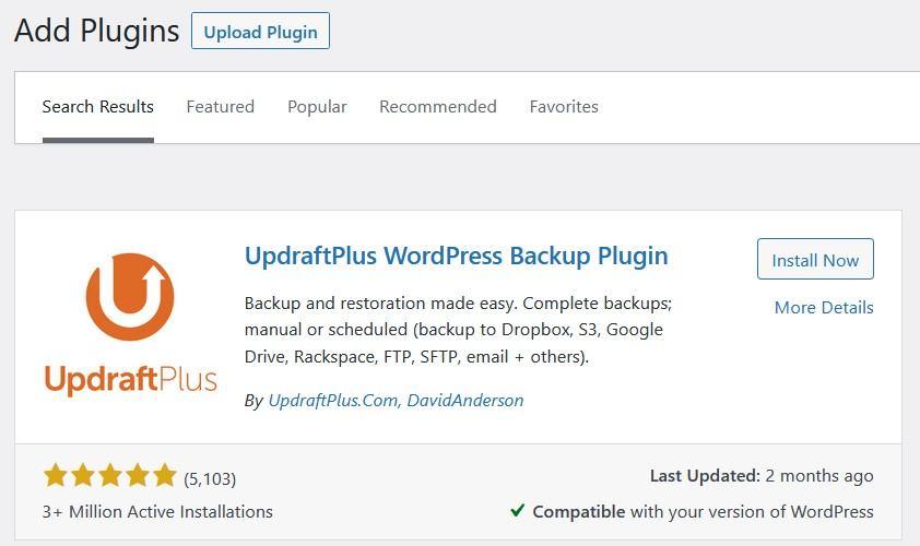 UpdraftPlus Backup Plugin: Add UpdraftPlus Plugin